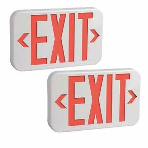 Rechargeable Led exit Sign Emergency Lights With Battery Backup Led Pk Of 2