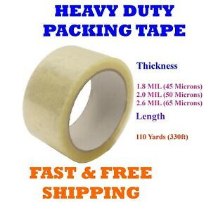 1 108 Rolls Clear Packing Tape Packaging Cartons 2 X 110 Yards 330ft Box Seal