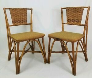 Vintage Rattan Bent Bamboo Dining Room Chair Pair Upholstered Mid Century