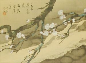 Japanese Painting Plum River Landscape Art Hanging Scroll Japan Antique C643