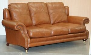 Rrp 3699 Medallion Upholstery Brown Leather Three Seat Sofa Part Of Large Suite