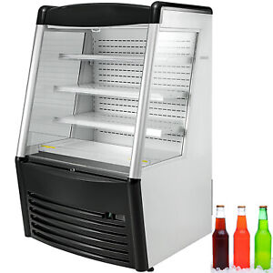 36 Open Air Refrigerated Display Case With Led Lights Beverage Refrigerator