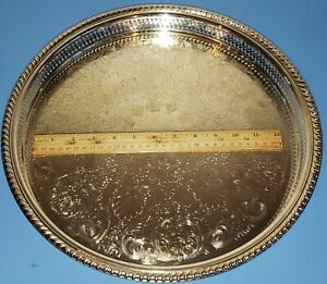 Vintage Wm A Rogers Silver Plate Etched 15 Round Tray