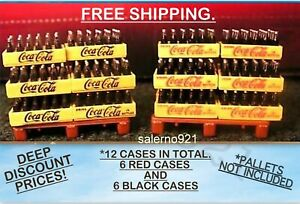 12 COCA COLA( 6-RED+ 6-BLACK)1:48 (O) Scale TWO LITER BOTTLES SUPER SALE PRICES!