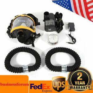Electric Constant Flow Supplied Air Fed Full Face Gas Mask Respirator Usa Stock