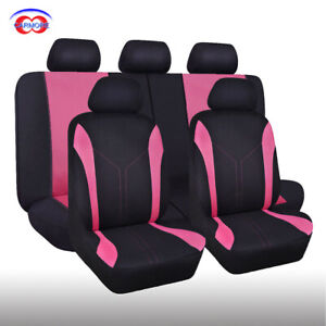 Car Seat Covers Universal Washable Pink Rear Bench Split 60 40 Polyester Mesh