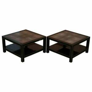 Pair Of Rrp 18 000 Original Shagreen Gilt Metal Large Side Coffee End Tables
