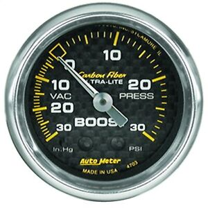Autometer 4703 Carbon Fiber Mechanical Boost Vacuum Gauge