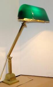 Brass Emeralite Articulating Desk Lamp Antique Clamp On Bankers Lamp Free Ship