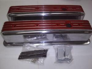 S B Chevy Tall Center Bolt Red Polished Fin Val Covers
