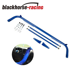 Black Stainless Steel Racing Safety Seat Belt Chassis Roll Harness Bar Kit Rod