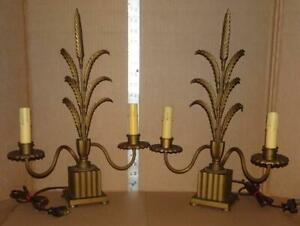 Vtg Art Deco Boudoir Lamps Antique Solid Brass Mantel Vanity Table Lamps Pair 4