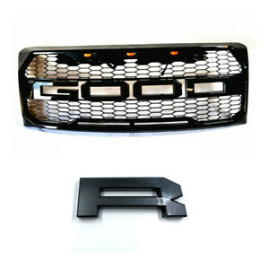 For 09 14 Ford F150 Raptor Style Glossy Black Mess Grille W Painted J7 Letters