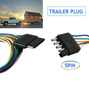 5pin Trailer Flat Plug Light Wiring Harness Connector Adapter Kit Famale male