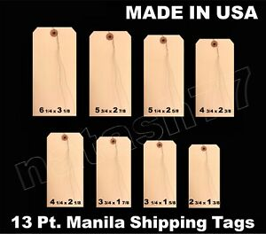 100 Manila 13 Pt Inventory Shipping Hang Price Tags Pre Wired 1 2 3 4 5 6 7 8