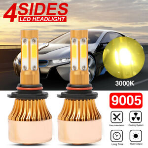 2x 4 Side 9005 Hb3 Led Headlight Conversion Kit Hi Low Beam Golden Yellow 3000k