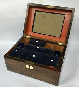 Antique Ladies Travelling Box Sewing Box Jewellery Box Victorian Box