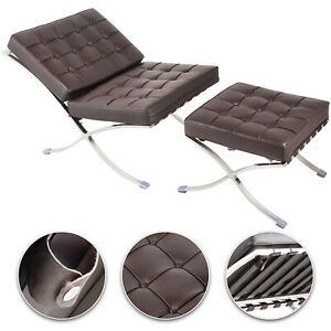 Barcelonay Style Lounge Chair And Ottoman Set Mirror Like Durability Footrest
