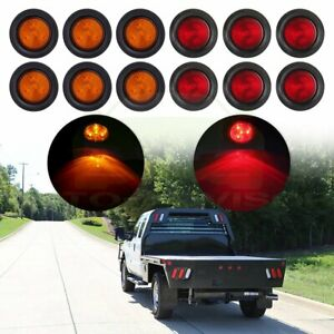 4 Led Light Truck Trailer Side Marker Clearance 2 5 Inch Round Kit 12x Red Amber