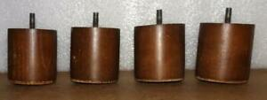 Vtg Mid Century Modern Round Wood Furniture Legs Oak Dresser Sideboard Feet 4 Pc