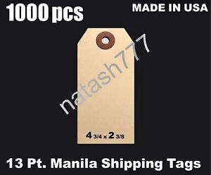 1000 4 3 4 X 2 3 8 Manila 13 Pt Inventory Shipping Hang Label Price Tags 5