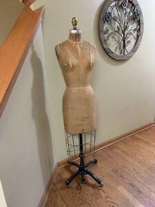 Vintage Leonard Adler Co Designer Caged Dress Form Size 8 Adjustable Base Wow