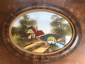 Vintage Convex Glass Oval Reverse Painting Tiger Wood Frame Highlands Scotland