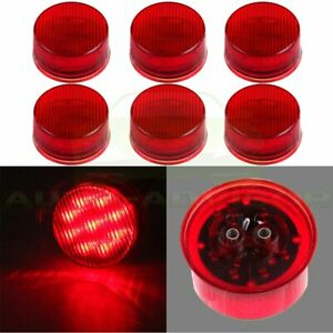 6x 2 Inch Round Red 9 Led Boat Trailer Waterproof Side Marker Clearance Light