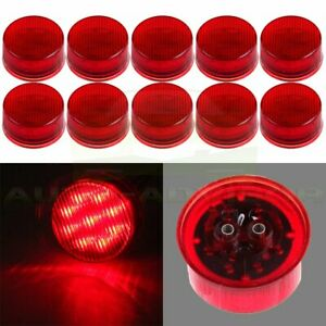 10x Round Red 9 Led Truck Brake Side Marker Clearance Light 2 Inch Waterproof