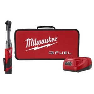 Milwaukee M12 Fuel 3 8 In Extended Reach Ratchet W 1 Cp2 0 Battery Kit New