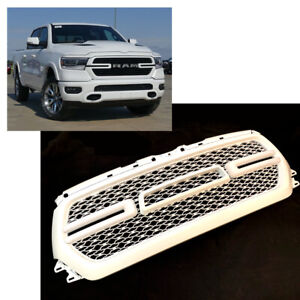 For 2019 2020 Dodge Ram 1500 Painted White Front Grill Mesh Grille W led Lights