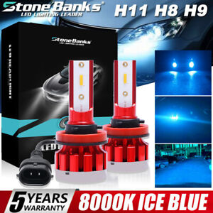 2x Mini H11 H9 H8 Ultra light Ice Blue 8000k Led Headlight Hi low Beam Fog Bulbs