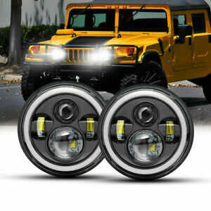 Pair 7 Inch Round Led Headlight Halo Angle Eyes For Hummer H2 H3 Jeep Wrangler