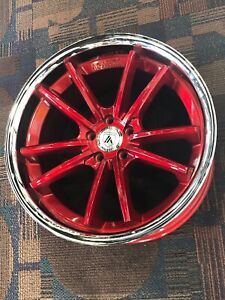 20 Staggered Asanti Abl23 Candy Red With Chrome Lip Rims Benz Lexus Chevy Honda