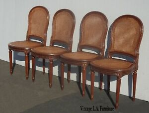 Four Vintage Cane French Louis Xvi Brown Dining Chairs