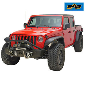 Eag Stubby Front Bumper With Winch Mount Plate Fit For 2020 Jeep Jt Gladiator