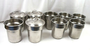4 Qt Stainless Steel Soup vegetable Inset Pot Round Food Pan Lot Of 9 3 Lids