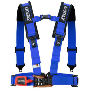 Universal 2 4 Point Racing Latch And Link Nylon Safety Harness Seat Belt Blue