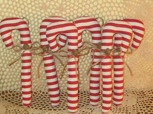 Country Christmas Decor 6 Red Stripe Candy Canes Tree Ornaments Wreath Accents