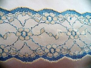 1 1 2 Yards Vintage 2 Wide Blue White Lace Great For Projects Ex Condition