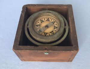 Antique Polaris Ships Marine Compass M C Co Brass In Original Vintage Wood Box