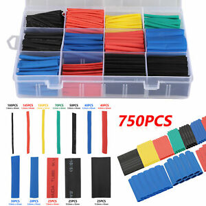 750pcs Heat Shrink Tubing Insulated Shrinkable Tube 2 1 Wire Cable Sleeve Kit