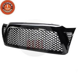 For 05 11 Toyota Tacoma Honeycomb Mesh Black Front Bumper Hood Grill Grille