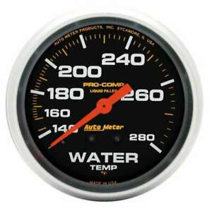 Water Temp Gauge Pro comp 140 280 F Mechanical 2 5 8 Liquid Filled Black Fac