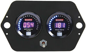 Gauge Panel Assembly Competition Oil Pressure Water Temp Black Face Kit