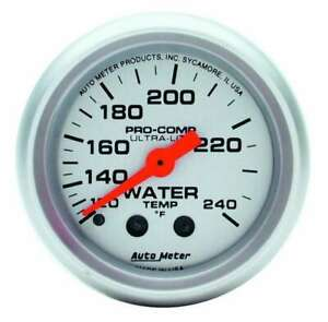 Water Temp Gauge Ultra lite 120 240 F Mechanical 2 1 16 Diameter Silver Face