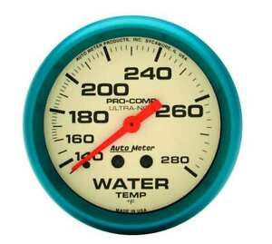 Water Temp Gauge Ultra nite 140 280 F Mechanical 2 5 8 Diameter White Face