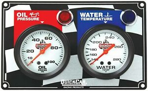 Gauge Panel Assembly Oil Pressure Water Temp Silver Face Warning Light Kit