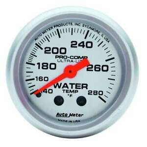 Water Temp Gauge Ultra lite 140 280 F Mechanical 2 1 16 Diameter Silver Face