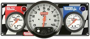 Gauge Panel Oil Pressure Tachometer Water Temp Silver Face Warning Light Kit